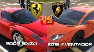 which is faster lamborghini or forza 5 enzo vs lamborghini aventador