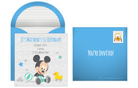 template baby mickey mouse 1st birthday invitations template in