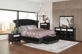 4 pc barzini black velvet queen size platform bedroom set