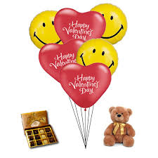 balloons and chocolate delivery 6 mylar balloons with medium size teddy and chocolate truffles