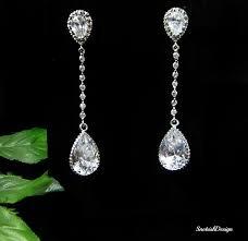 cubic zirconia drop earrings cubic zirconia wedding earrings bridal earrings