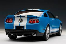 ford mustang gt white stripes autoart 2010 ford mustang gt500 grabber blue w white stripes
