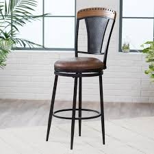 furniture rustic leather swivel bar stools with back with metal
