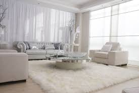 lovely large square white furry rug in small modern living room