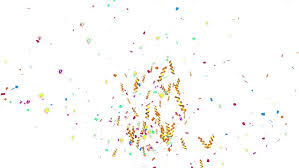 party ribbon animation colorful confetti paper twisted ribbon and element