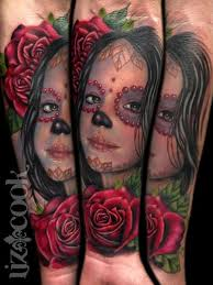 liz cook tattoos portrait day of the dead