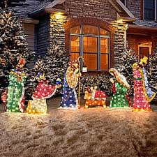 Outdoor Christmas Decorations Stakes by Set Of 6 Lighted Holy Family U0026 Wisemen Shimmering Nativity Scene