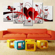online get cheap red painted rooms aliexpress com alibaba group home decor hand painted red love heart butterfly oil painting living room wall painting 5 pieces
