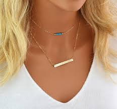 personalized bar necklace gold birthstone bar necklace choker necklace layered necklace bar