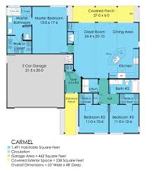 Floor Plan Of A House With Dimensions Ranch Style House Plan 3 Beds 2 00 Baths 1491 Sq Ft Plan 489 1