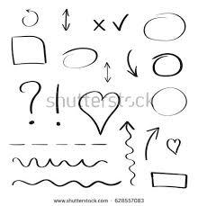 hand drawn arrows circles icon set stock vector 668048161