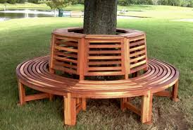 Round Redwood Picnic Table by Outdoor Wood Tree Bench Forever Redwood