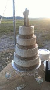 wedding cake with burlap ribbon and willow tree topper wedding