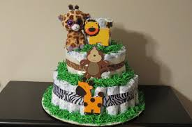 jungle animal diaper cake for boy or baby shower gift or