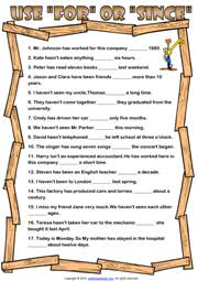 present perfect tense esl printable worksheets and exercises