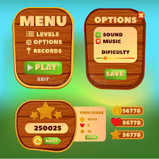 design games to download cartoon wood control panel for ui game menu elements of a funny
