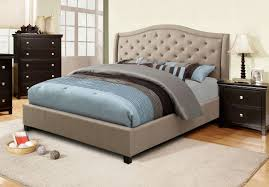 bedroom tan suede fabric upholstered custom bed frame tufted