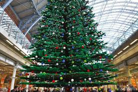 33 foot lego tree erected in s st pancras station