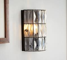 crystal sconces for bathroom adeline crystal sconce pottery barn