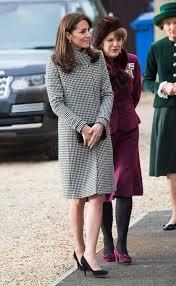 kate middleton wearing houndstooth coat and blue dress popsugar