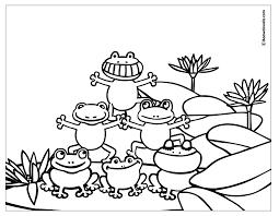 dessin imprimer colorier coloring 5 frogs