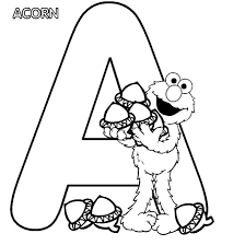Sesame Street Alphabet Letter A Coloring Page Acorn Get Coloring A Coloring Sheet