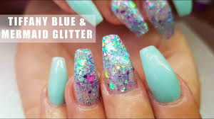 acrylic nails tiffany blue and chunky mermaid glitter nail art