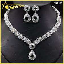 silver necklace set images Fashion sterling silver cubic zirconia bridal necklace set buy jpg