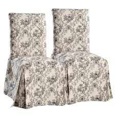 pair of armless dining chairs using black and white flower pattern
