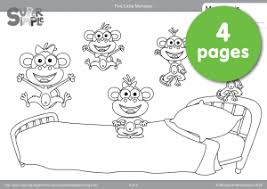 No More Monkeys Jumping On The Bed Song Five Little Monkeys Coloring Pages Super Simple