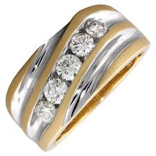 mens engagement rings mens diamond ring in 14kt yellow and white gold 1ct tw