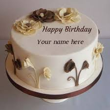 flower decorated happy birthday cake pics name edit hbd cake