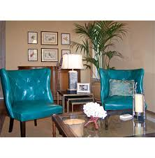 goodman hollywood regency feather down teal blue leather accent
