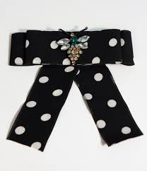 black and white polka dot ribbon black white polka dot ribbon bow gemstone brooch unique vintage