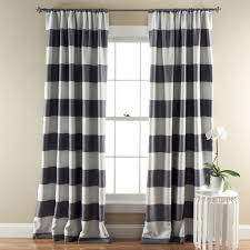 Black And Gray Curtains Stripe Blackout Window Curtain Set Lush Decor Www Lushdecor