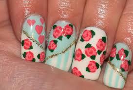 vintage floral design hand painted roses nail tutorial youtube