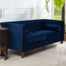 Sofa For Living Room Pictures Pasargad Victoria Collection Velvet Sofa Blue With 2 Lavender