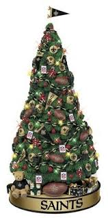 a beautifully decorated new orleans saints tree
