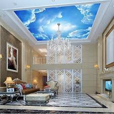 photo wallpaper large clouds 3d interior ceiling in the lobby wall sticker