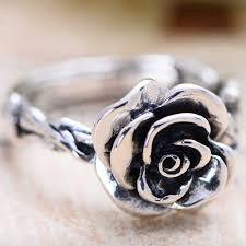 silver rose rings images Women 39 s sterling silver rose ring jpg