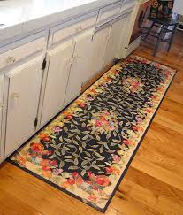 Hardwood Floors In Kitchens Elegant Long Floral Mat In The Kitchen With Hardwood Floors