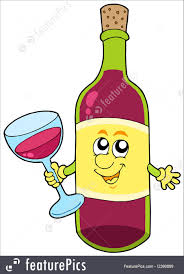 wine vector illustration of cartoon bottle of wine