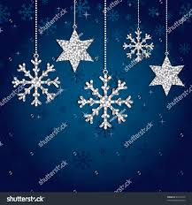blue snowflake background silver glitter decorations stock vector