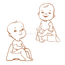 potty training babies on potty sketch stock vector image 75674683
