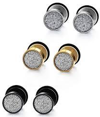 earring for men jstyle 3 pairs stainless steel stud earring men backs ear cuffs