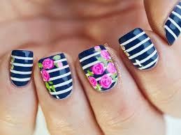 rose and navy nails nails rose nail art floral nails flower nails