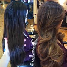 cut before dye hair before and after a sombre balayage highlights transitions to a