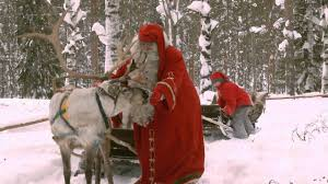 santa claus reindeer ride lapland finland father christmas