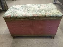 a vintage lloyd loom original pink ottoman storage footstall seat