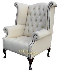 Leather High Back Armchair Chesterfield Buttoned Queen Anne High Back Wing Chair Cottonseed
